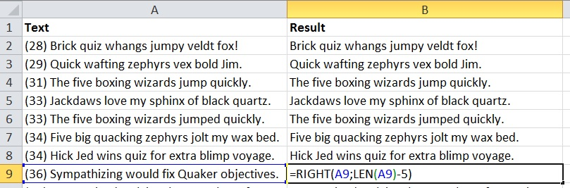 Remove first words in Excel end result