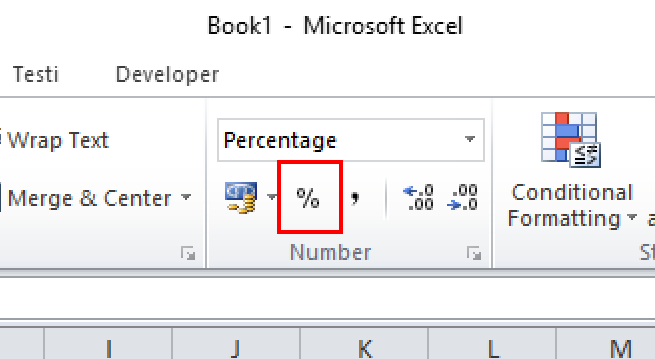 Changing formatting into percentage in Excel